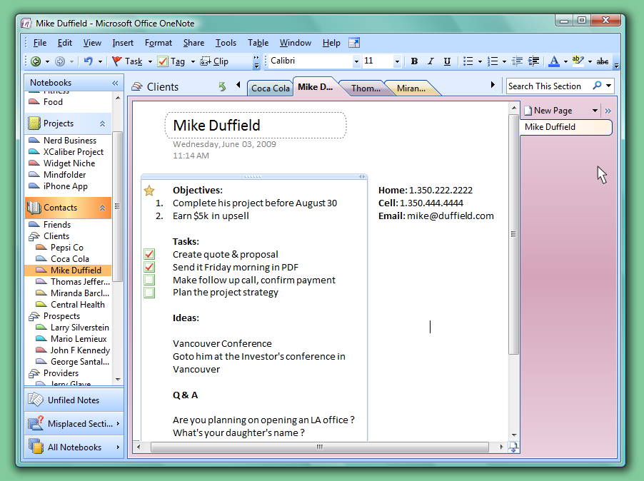 To do for Onenote section template