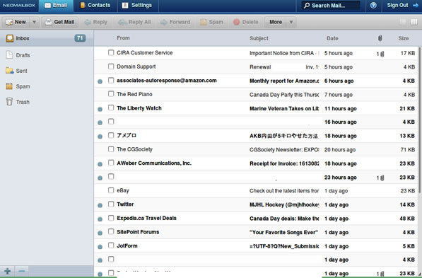Neomailbox inbox (column view)
