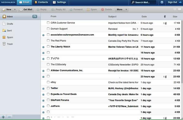 Neomailbox inbox (column view)