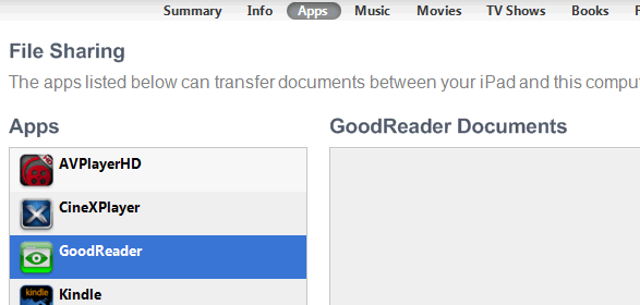 GoodReader USB transfer