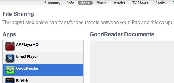 GoodReader USB transfer
