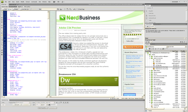 Dreamweaver CS4 Related Files